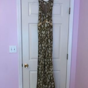 Elegant green floral silk dress